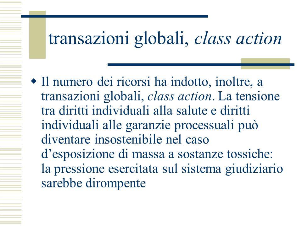 transazioni globali, class action Il numero dei ricorsi ha indotto, inoltre, a transazioni globali, class action. La tensione tra diritti individuali