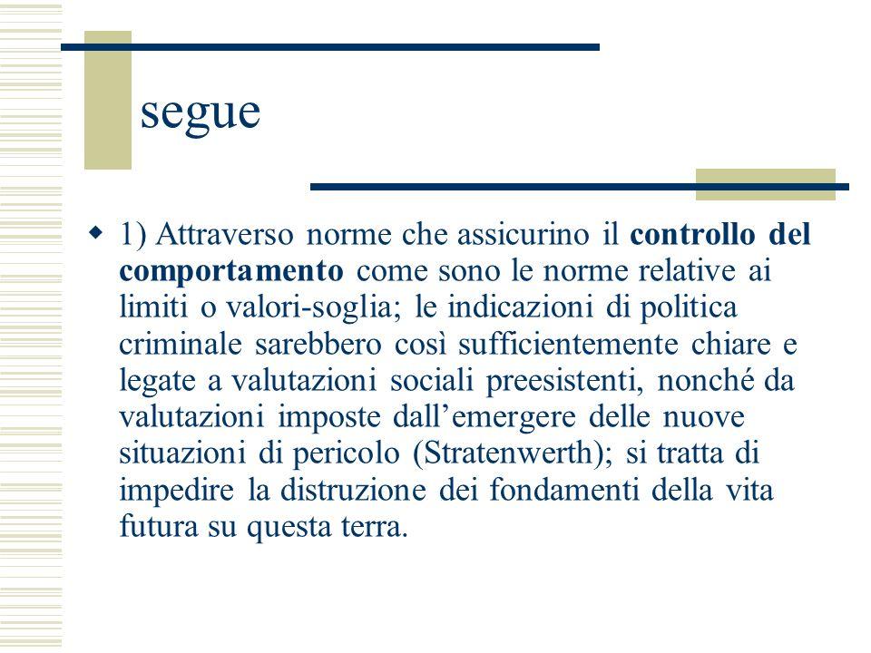 segue 1) Attraverso norme che assicurino il controllo del comportamento come sono le norme relative ai limiti o valori-soglia; le indicazioni di polit