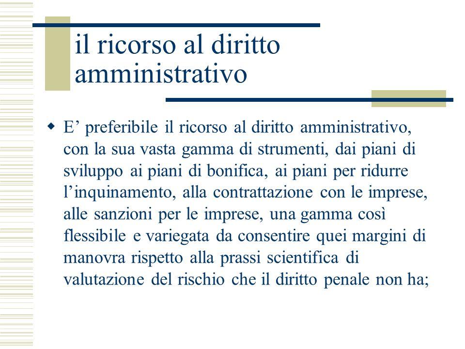 il ricorso al diritto amministrativo E preferibile il ricorso al diritto amministrativo, con la sua vasta gamma di strumenti, dai piani di sviluppo ai