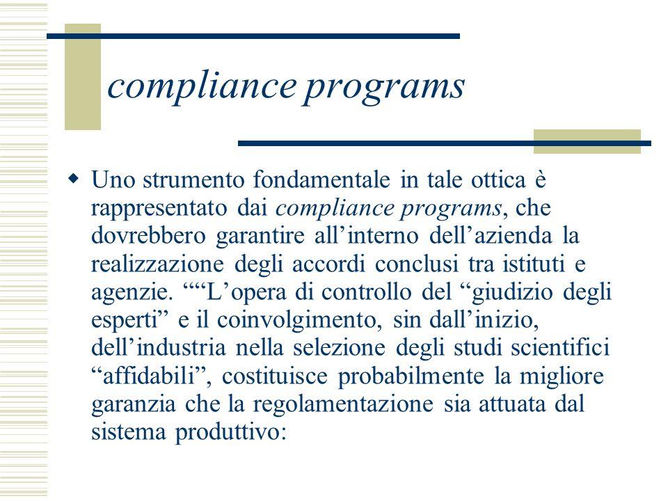compliance programs Uno strumento fondamentale in tale ottica è rappresentato dai compliance programs, che dovrebbero garantire allinterno dellazienda