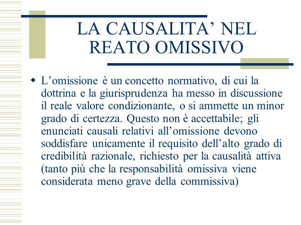 LA CAUSALITA NEL REATO OMISSIVO Lomissione è un concetto normativo, di cui la dottrina e la giurisprudenza ha messo in discussione il reale valore con