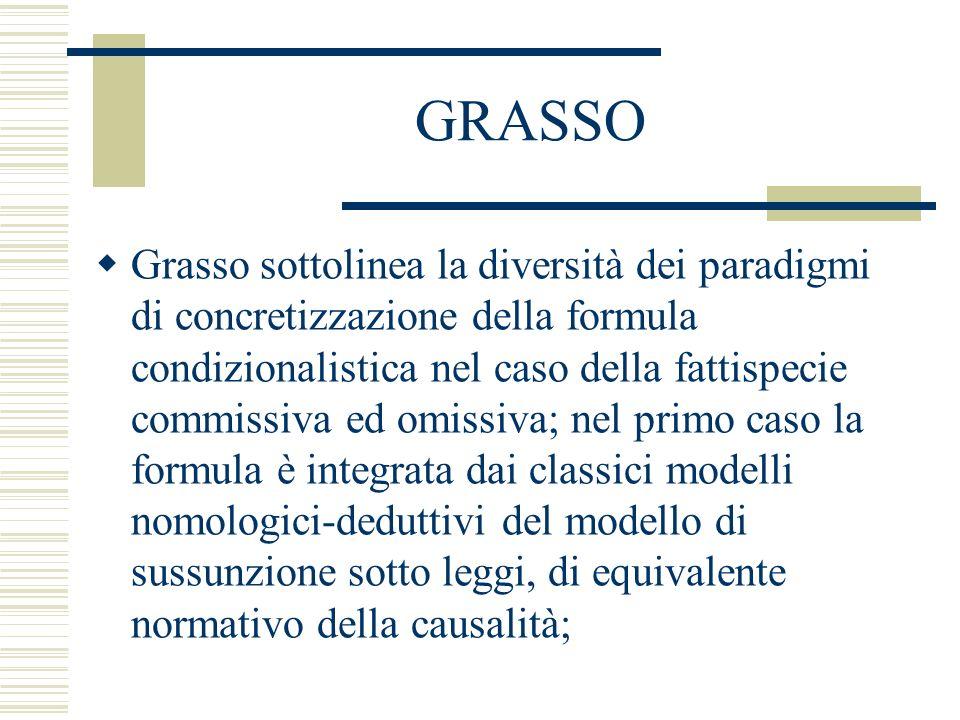 GRASSO Grasso sottolinea la diversità dei paradigmi di concretizzazione della formula condizionalistica nel caso della fattispecie commissiva ed omiss