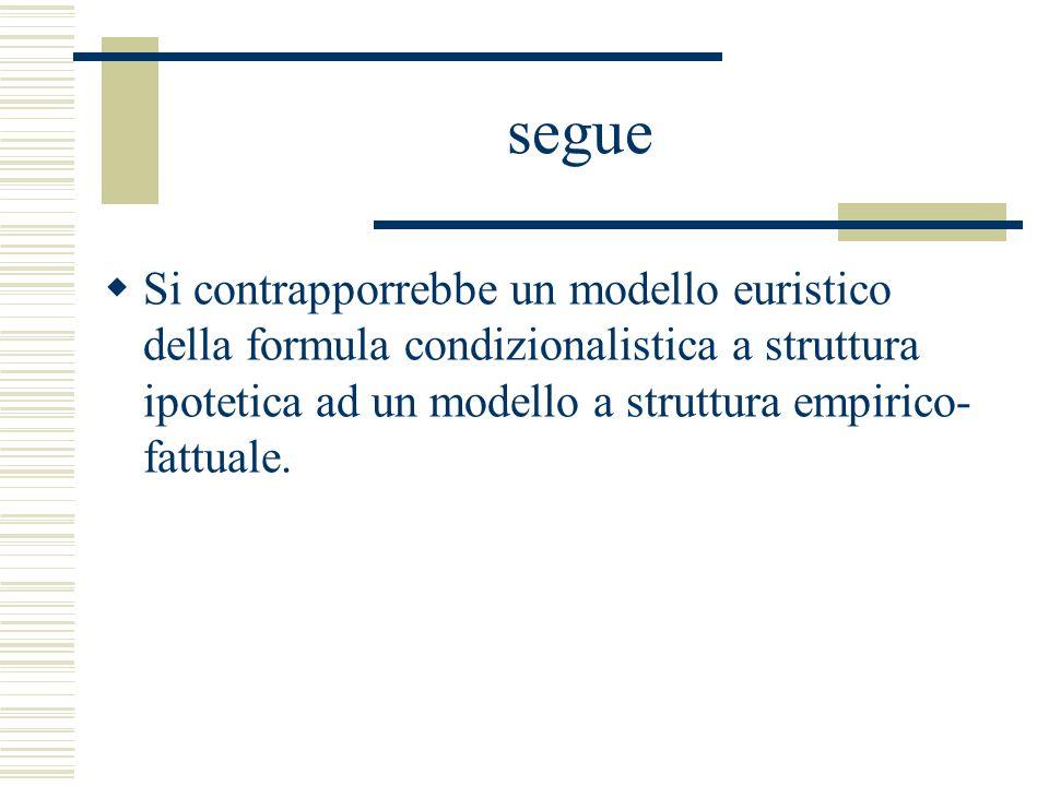 segue Si contrapporrebbe un modello euristico della formula condizionalistica a struttura ipotetica ad un modello a struttura empirico- fattuale.
