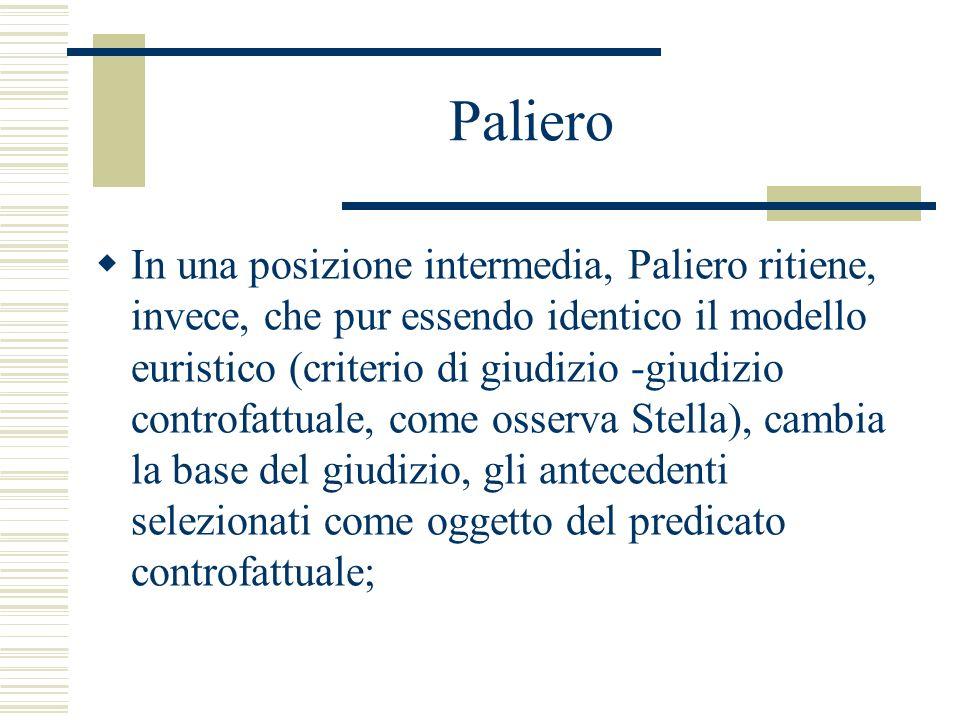 Paliero In una posizione intermedia, Paliero ritiene, invece, che pur essendo identico il modello euristico (criterio di giudizio -giudizio controfatt