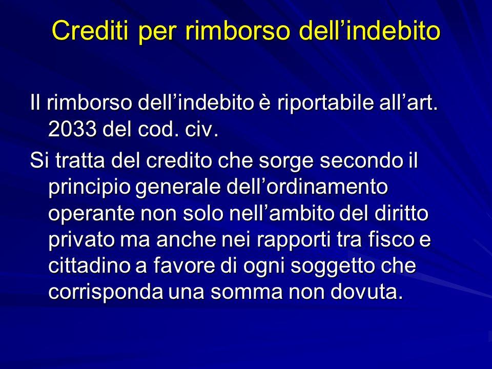 Crediti per rimborso dellindebito Il rimborso dellindebito è riportabile allart.