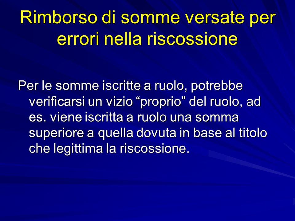 Rimborso di somme versate per errori nella riscossione Per le somme iscritte a ruolo, potrebbe verificarsi un vizio proprio del ruolo, ad es.