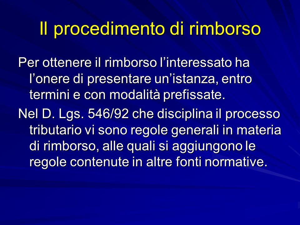 Il procedimento di rimborso Per ottenere il rimborso linteressato ha lonere di presentare unistanza, entro termini e con modalità prefissate.