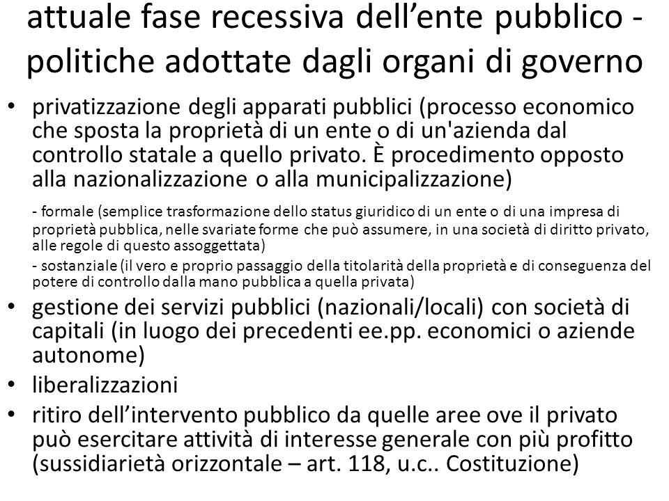 attuale fase recessiva dellente pubblico - politiche adottate dagli organi di governo privatizzazione degli apparati pubblici (processo economico che sposta la proprietà di un ente o di un azienda dal controllo statale a quello privato.