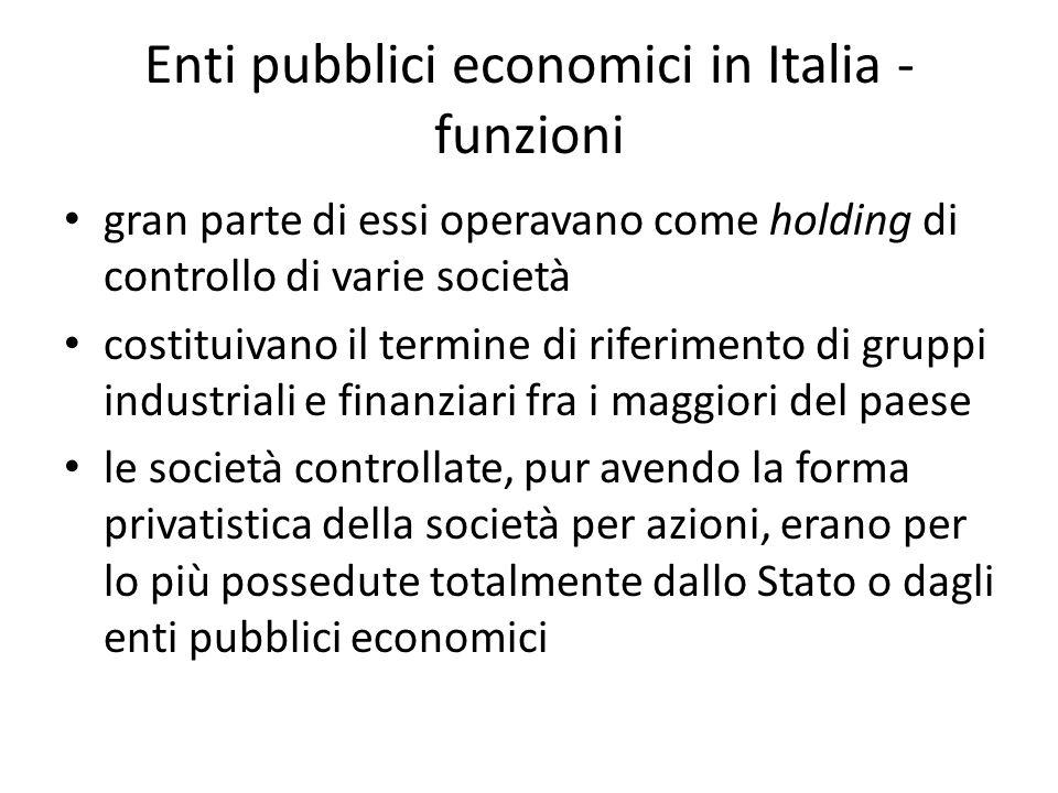 Enti pubblici economici in Italia - funzioni gran parte di essi operavano come holding di controllo di varie società costituivano il termine di riferimento di gruppi industriali e finanziari fra i maggiori del paese le società controllate, pur avendo la forma privatistica della società per azioni, erano per lo più possedute totalmente dallo Stato o dagli enti pubblici economici