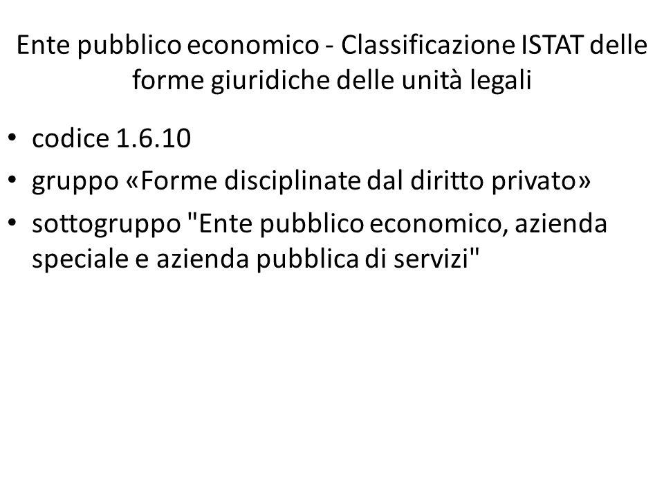 Ente pubblico economico - Classificazione ISTAT delle forme giuridiche delle unità legali codice 1.6.10 gruppo «Forme disciplinate dal diritto privato» sottogruppo Ente pubblico economico, azienda speciale e azienda pubblica di servizi