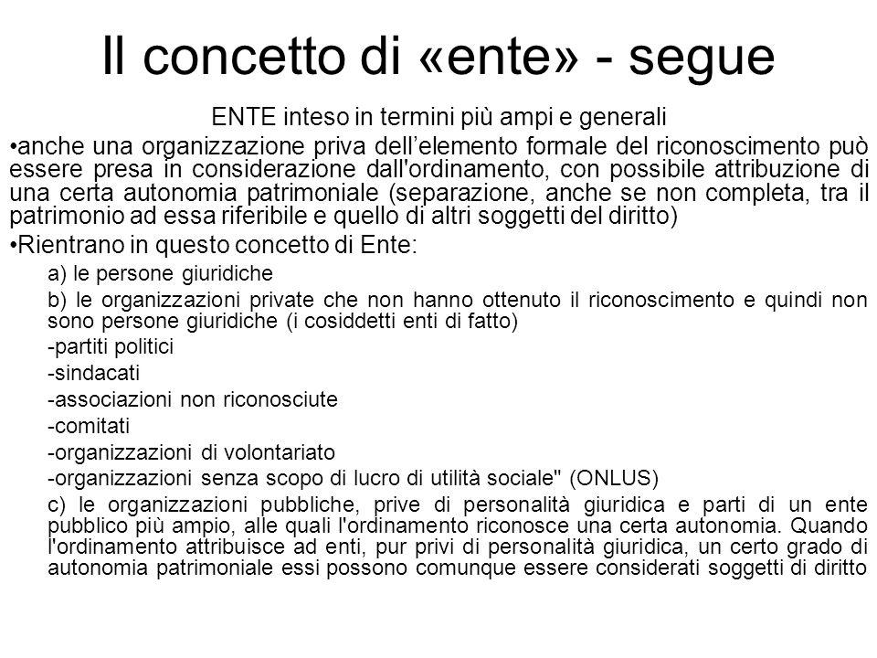 Il concetto di «ente» - segue ENTE inteso in termini più ampi e generali anche una organizzazione priva dellelemento formale del riconoscimento può es