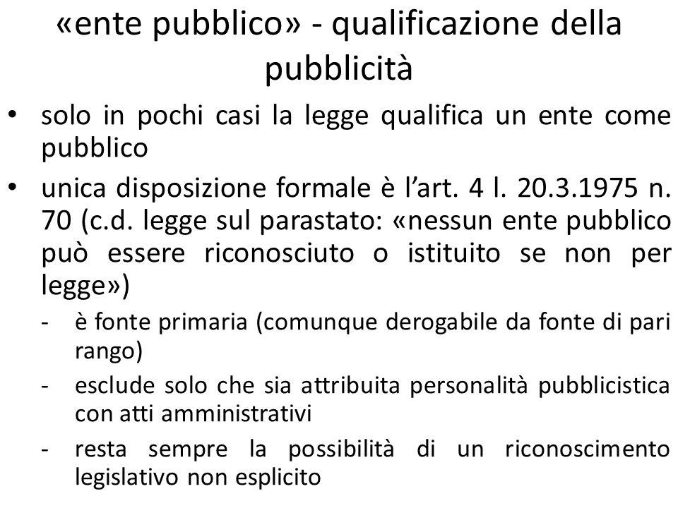 «ente pubblico» - qualificazione della pubblicità solo in pochi casi la legge qualifica un ente come pubblico unica disposizione formale è lart. 4 l.