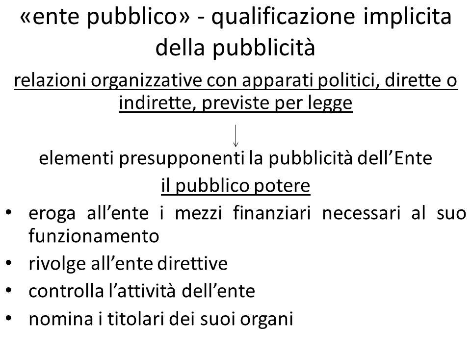 «ente pubblico» - qualificazione implicita della pubblicità relazioni organizzative con apparati politici, dirette o indirette, previste per legge ele