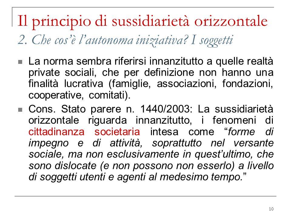 10 Il principio di sussidiarietà orizzontale 2. Che cosè lautonoma iniziativa? I soggetti La norma sembra riferirsi innanzitutto a quelle realtà priva
