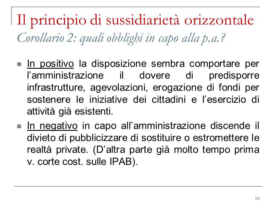 14 Il principio di sussidiarietà orizzontale Corollario 2: quali obblighi in capo alla p.a.? In positivo la disposizione sembra comportare per lammini