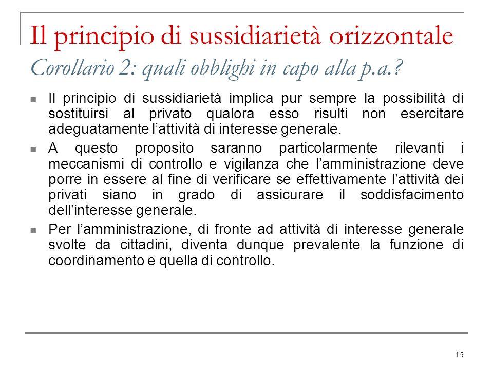 15 Il principio di sussidiarietà orizzontale Corollario 2: quali obblighi in capo alla p.a.? Il principio di sussidiarietà implica pur sempre la possi