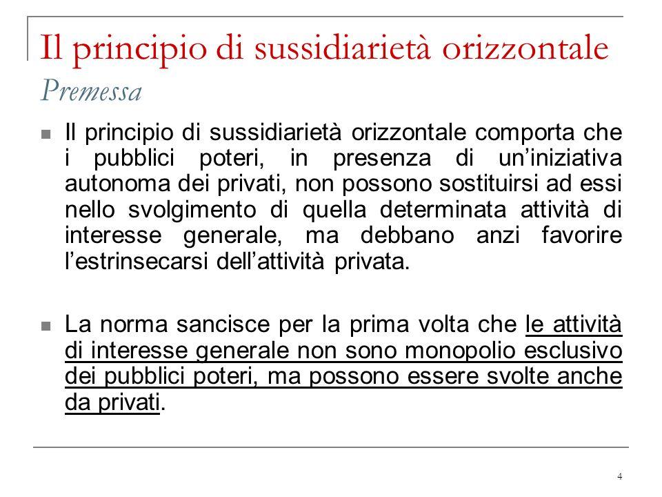 4 Il principio di sussidiarietà orizzontale Premessa Il principio di sussidiarietà orizzontale comporta che i pubblici poteri, in presenza di uninizia