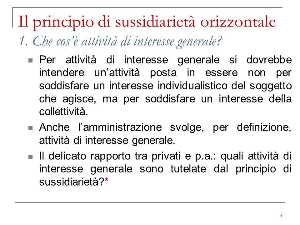 5 Il principio di sussidiarietà orizzontale 1. Che cosè attività di interesse generale? Per attività di interesse generale si dovrebbe intendere unatt
