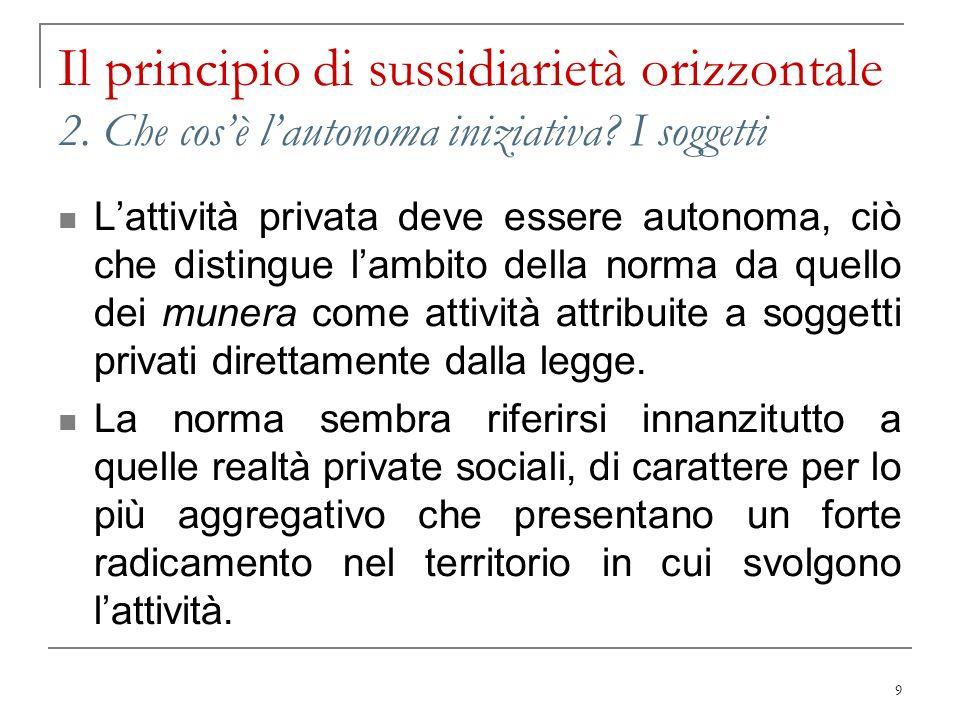 9 Il principio di sussidiarietà orizzontale 2. Che cosè lautonoma iniziativa? I soggetti Lattività privata deve essere autonoma, ciò che distingue lam