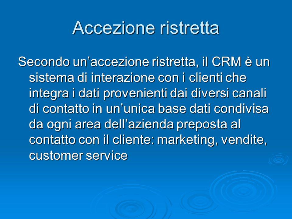 Secondo unaccezione ristretta, il CRM è un sistema di interazione con i clienti che integra i dati provenienti dai diversi canali di contatto in ununi