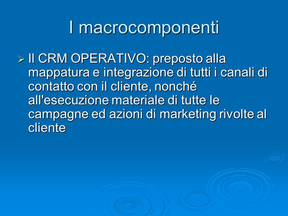 I macrocomponenti Il CRM OPERATIVO: preposto alla mappatura e integrazione di tutti i canali di contatto con il cliente, nonché all'esecuzione materia