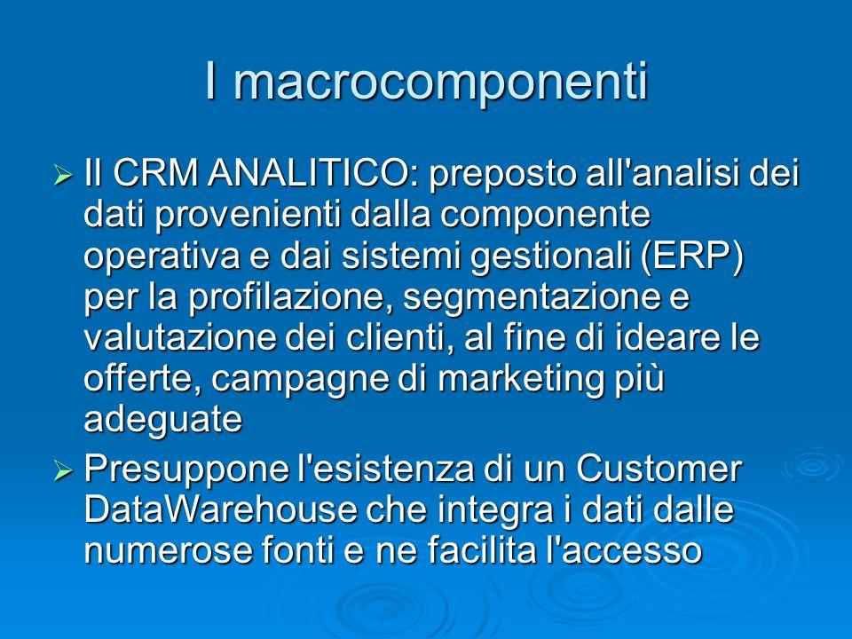 I macrocomponenti Il CRM ANALITICO: preposto all'analisi dei dati provenienti dalla componente operativa e dai sistemi gestionali (ERP) per la profila