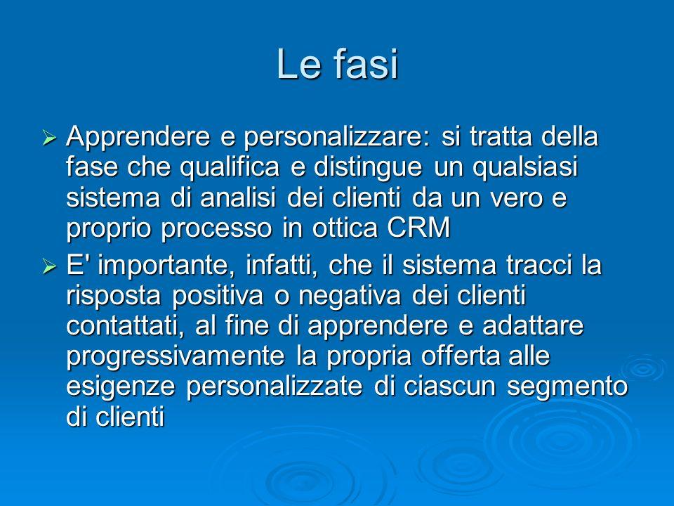 Le fasi Apprendere e personalizzare: si tratta della fase che qualifica e distingue un qualsiasi sistema di analisi dei clienti da un vero e proprio p