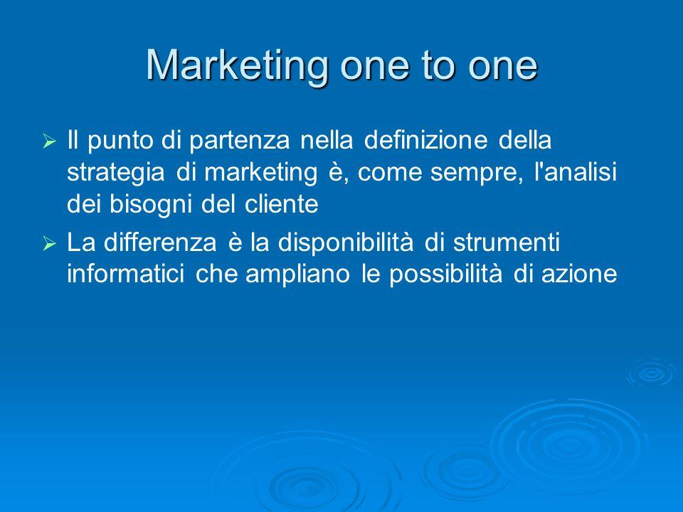 Marketing one to one Il punto di partenza nella definizione della strategia di marketing è, come sempre, l'analisi dei bisogni del cliente La differen