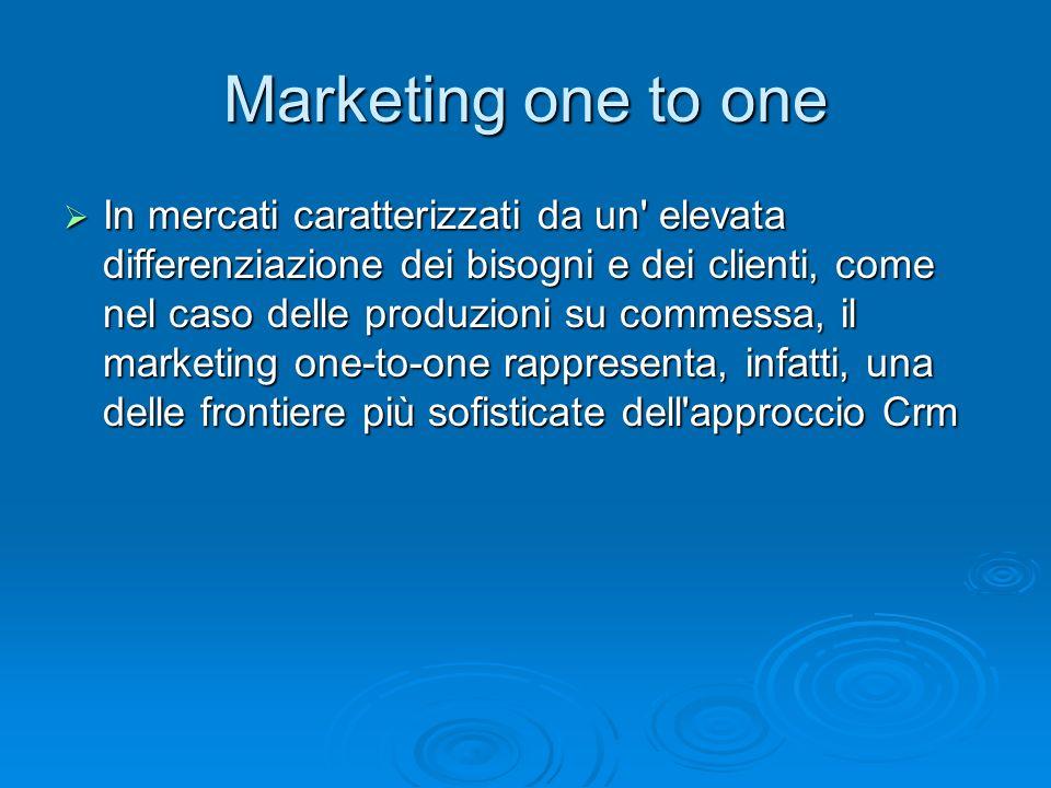 Marketing one to one In mercati caratterizzati da un' elevata differenziazione dei bisogni e dei clienti, come nel caso delle produzioni su commessa,