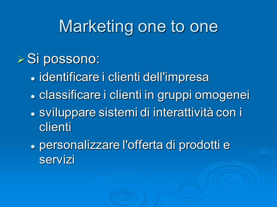 Si possono: Si possono: identificare i clienti dell'impresa identificare i clienti dell'impresa classificare i clienti in gruppi omogenei classificare