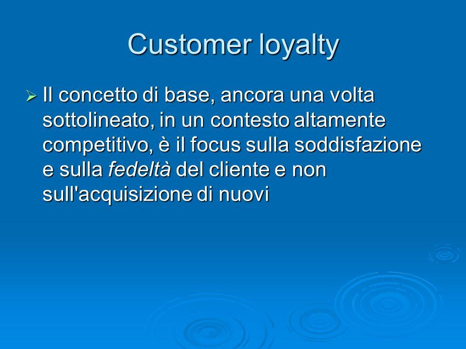 Il concetto di base, ancora una volta sottolineato, in un contesto altamente competitivo, è il focus sulla soddisfazione e sulla fedeltà del cliente e