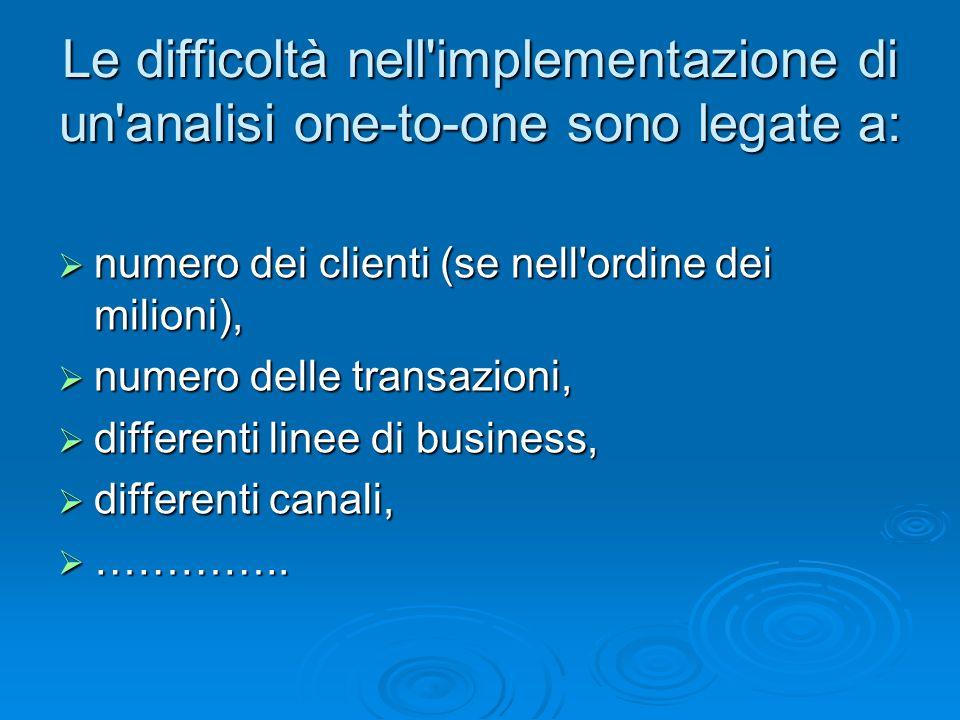Le difficoltà nell'implementazione di un'analisi one-to-one sono legate a: numero dei clienti (se nell'ordine dei milioni), numero dei clienti (se nel