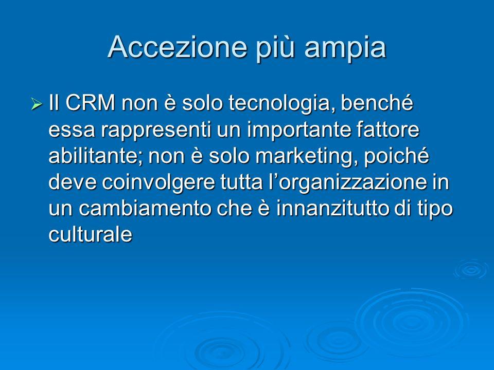 Accezione più ampia Il CRM non è solo tecnologia, benché essa rappresenti un importante fattore abilitante; non è solo marketing, poiché deve coinvolg