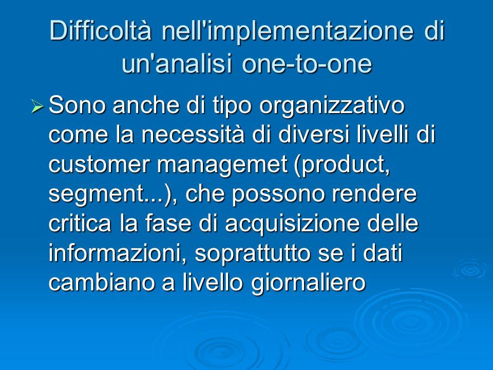 Difficoltà nell'implementazione di un'analisi one-to-one Sono anche di tipo organizzativo come la necessità di diversi livelli di customer managemet (