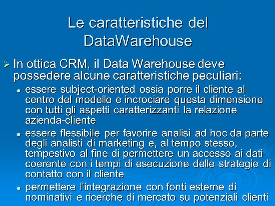 Le caratteristiche del DataWarehouse In ottica CRM, il Data Warehouse deve possedere alcune caratteristiche peculiari: In ottica CRM, il Data Warehous