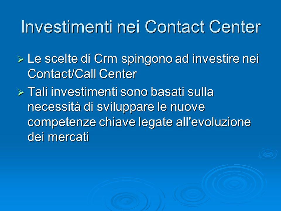 Investimenti nei Contact Center Le scelte di Crm spingono ad investire nei Contact/Call Center Le scelte di Crm spingono ad investire nei Contact/Call