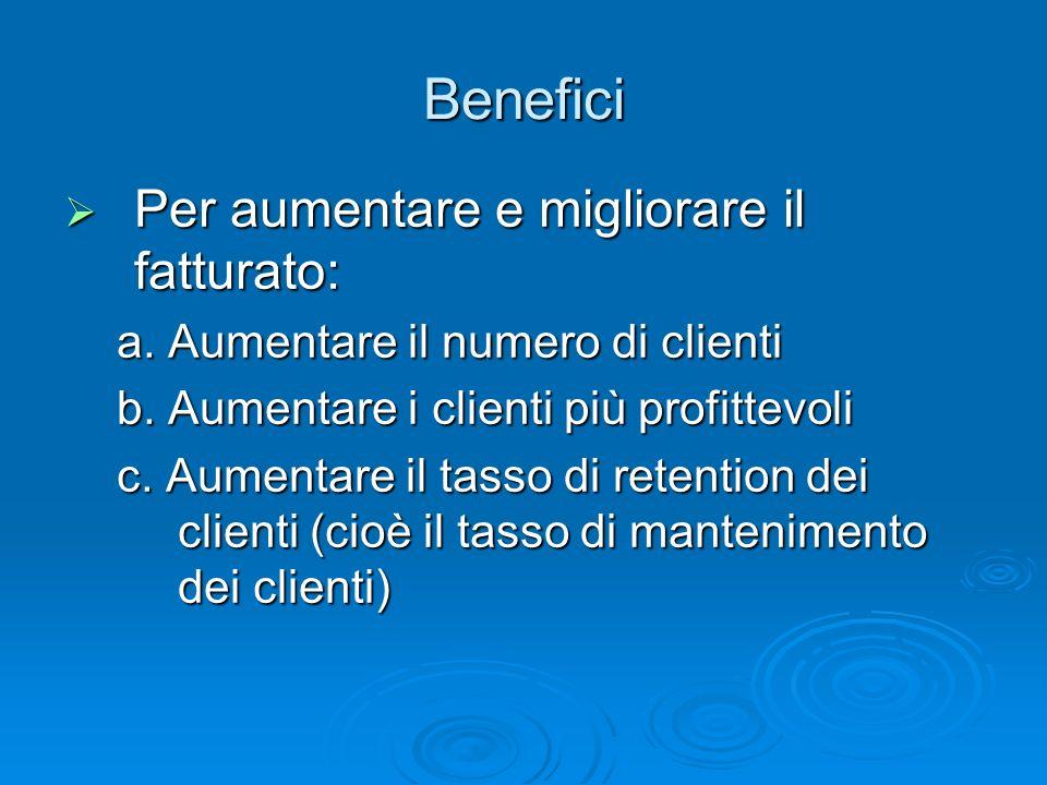 Benefici Per aumentare e migliorare il fatturato: Per aumentare e migliorare il fatturato: a. Aumentare il numero di clienti b. Aumentare i clienti pi