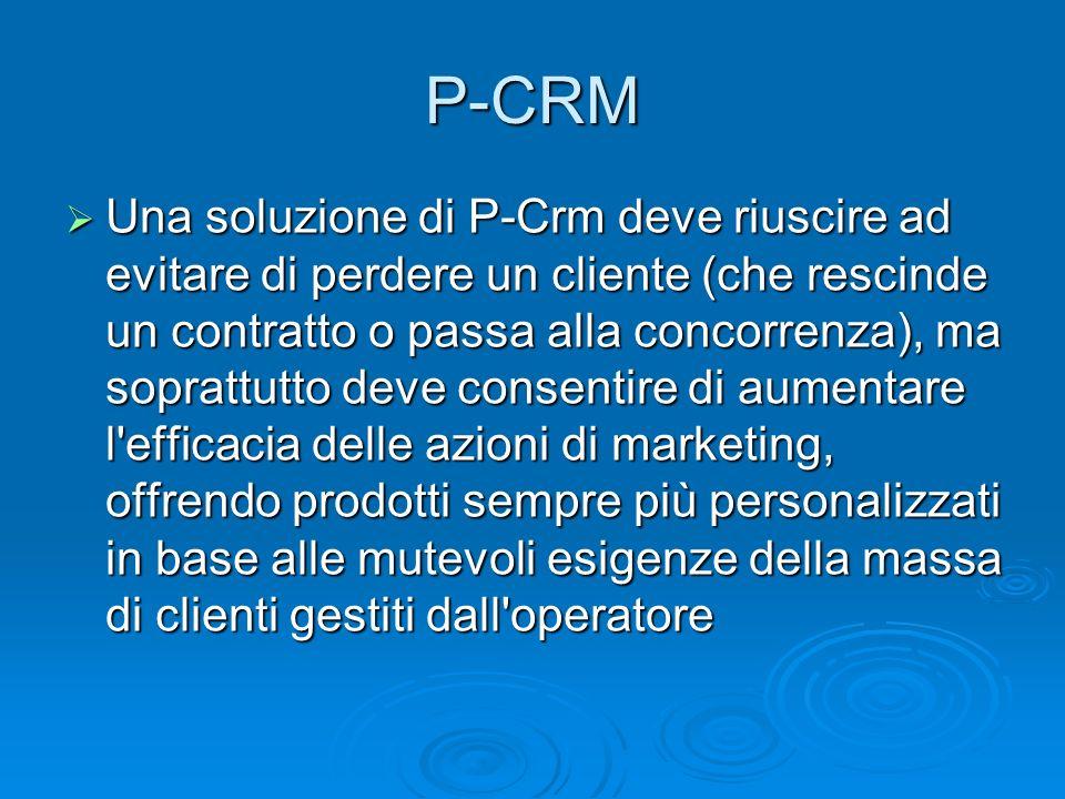 Una soluzione di P-Crm deve riuscire ad evitare di perdere un cliente (che rescinde un contratto o passa alla concorrenza), ma soprattutto deve consen