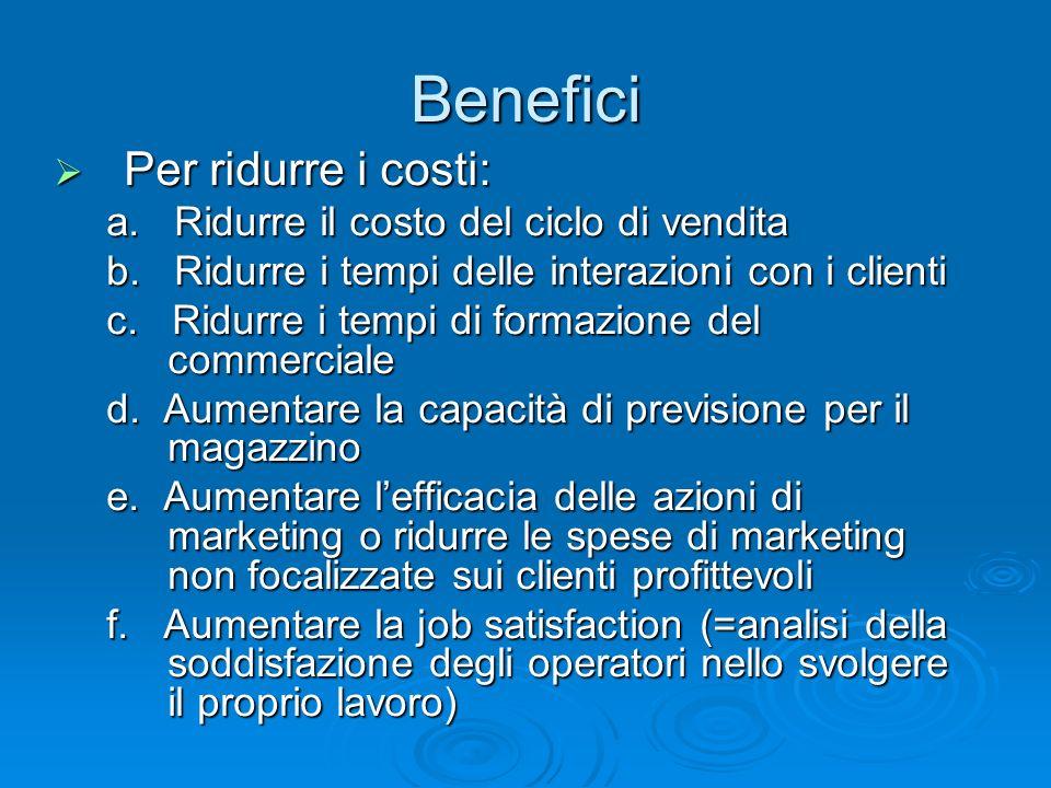 Per ridurre i costi: Per ridurre i costi: a. Ridurre il costo del ciclo di vendita a. Ridurre il costo del ciclo di vendita b. Ridurre i tempi delle i