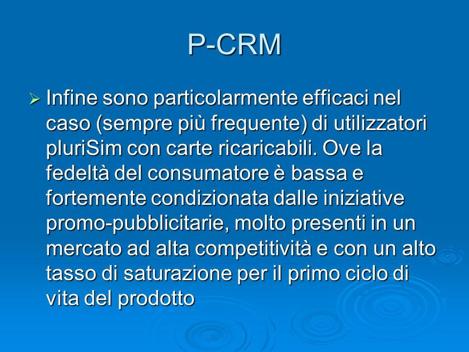 P-CRM Infine sono particolarmente efficaci nel caso (sempre più frequente) di utilizzatori pluriSim con carte ricaricabili. Ove la fedeltà del consuma