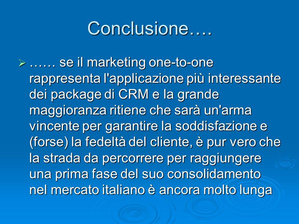 Conclusione…. …… se il marketing one-to-one rappresenta l'applicazione più interessante dei package di CRM e la grande maggioranza ritiene che sarà un