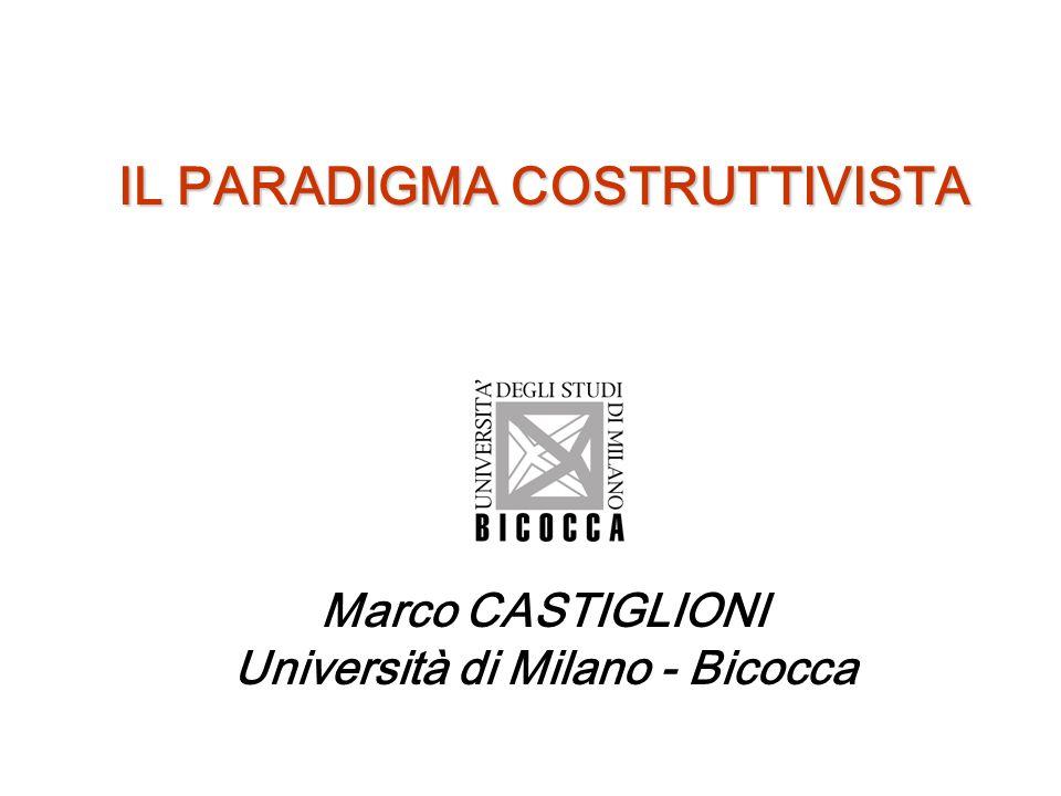 IL PARADIGMA COSTRUTTIVISTA Marco CASTIGLIONI Università di Milano - Bicocca