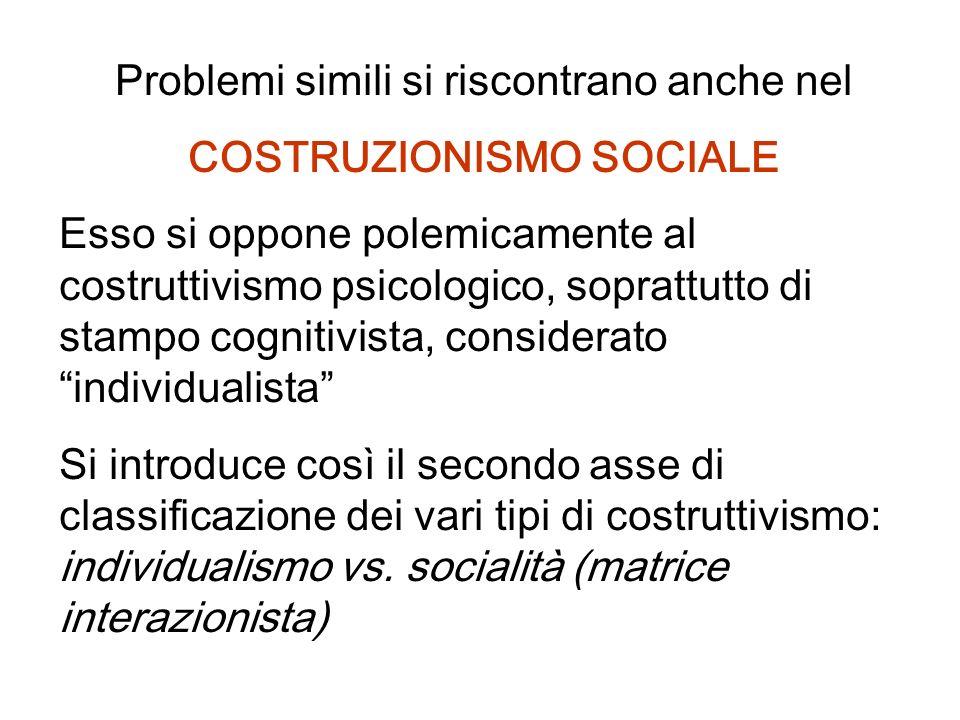 Problemi simili si riscontrano anche nel COSTRUZIONISMO SOCIALE Esso si oppone polemicamente al costruttivismo psicologico, soprattutto di stampo cogn