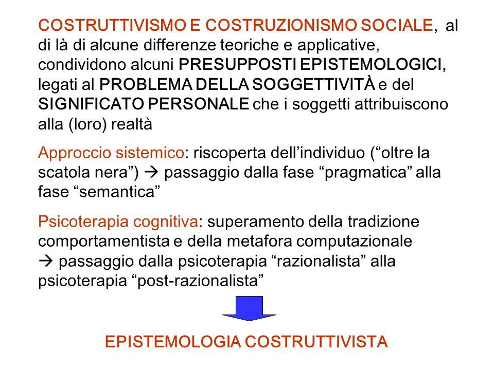 COSTRUTTIVISMO E COSTRUZIONISMO SOCIALE, al di là di alcune differenze teoriche e applicative, condividono alcuni PRESUPPOSTI EPISTEMOLOGICI, legati a