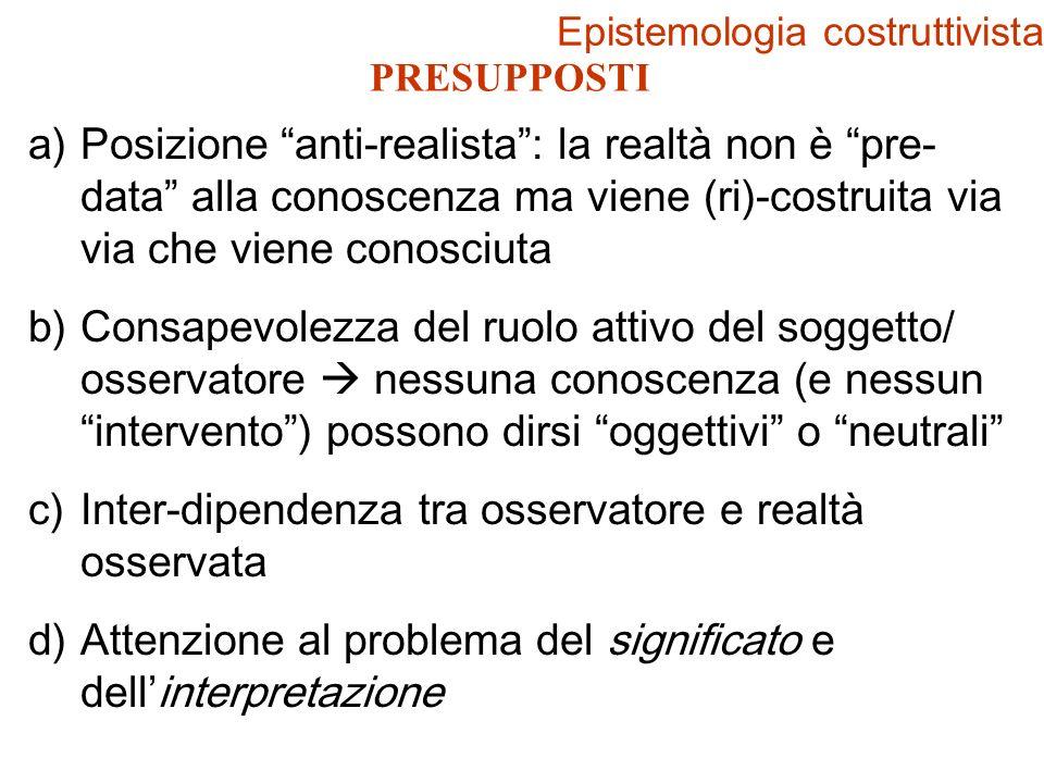 PRESUPPOSTI a)Posizione anti-realista: la realtà non è pre- data alla conoscenza ma viene (ri)-costruita via via che viene conosciuta b)Consapevolezza