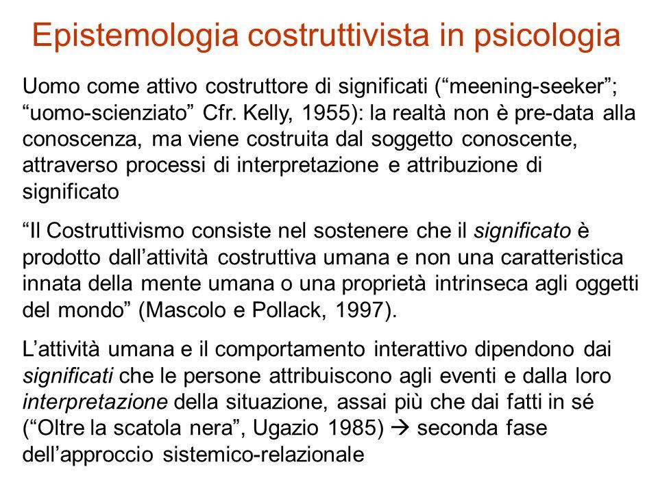 Epistemologia costruttivista in psicologia Uomo come attivo costruttore di significati (meening-seeker; uomo-scienziato Cfr. Kelly, 1955): la realtà n