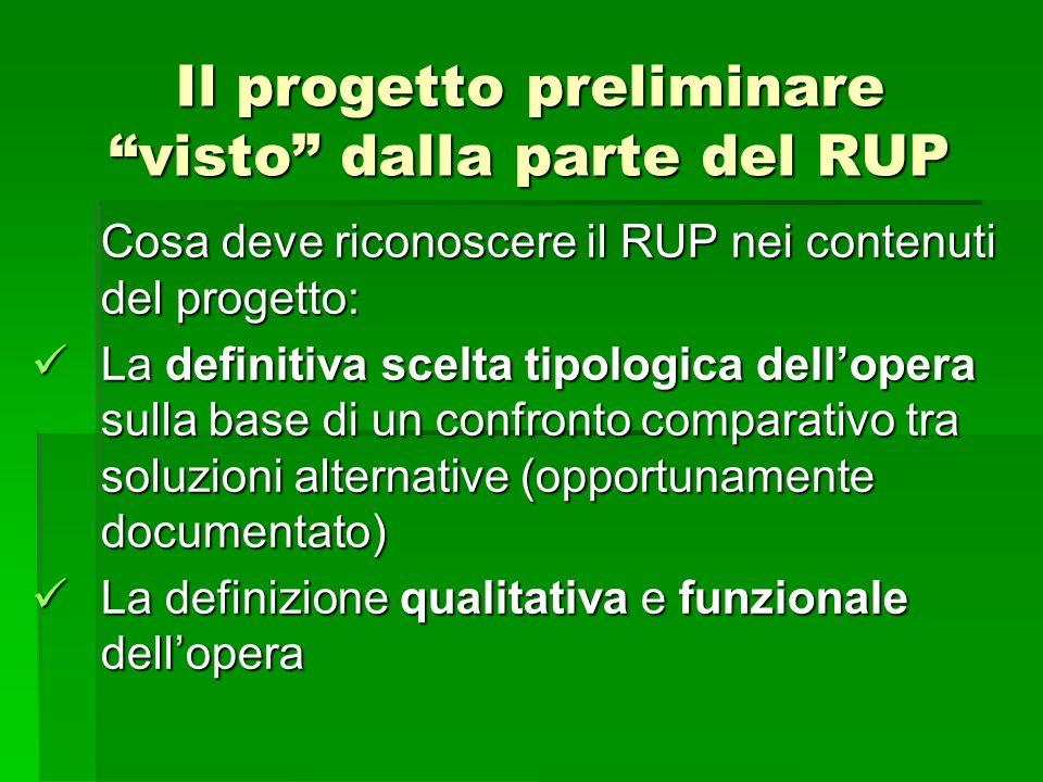 Il progetto preliminare visto dalla parte del RUP Cosa deve riconoscere il RUP nei contenuti del progetto: La definitiva scelta tipologica dellopera s