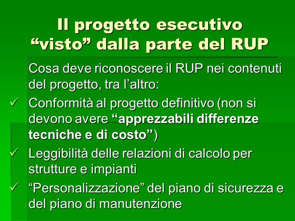 Il progetto esecutivo visto dalla parte del RUP Cosa deve riconoscere il RUP nei contenuti del progetto, tra laltro: Conformità al progetto definitivo