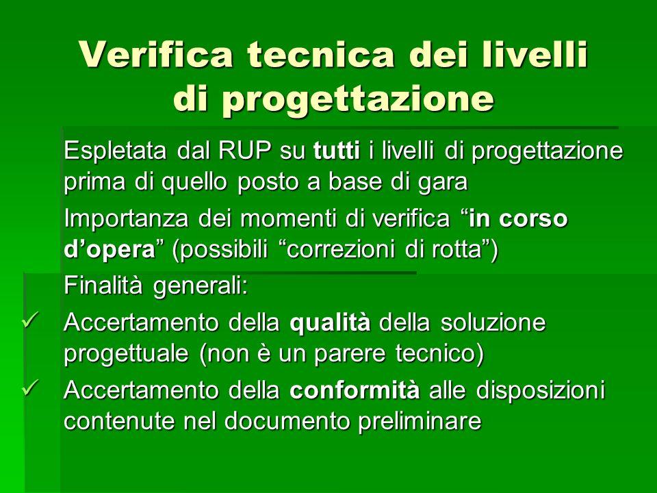 Verifica tecnica dei livelli di progettazione Espletata dal RUP su tutti i livelli di progettazione prima di quello posto a base di gara Importanza de