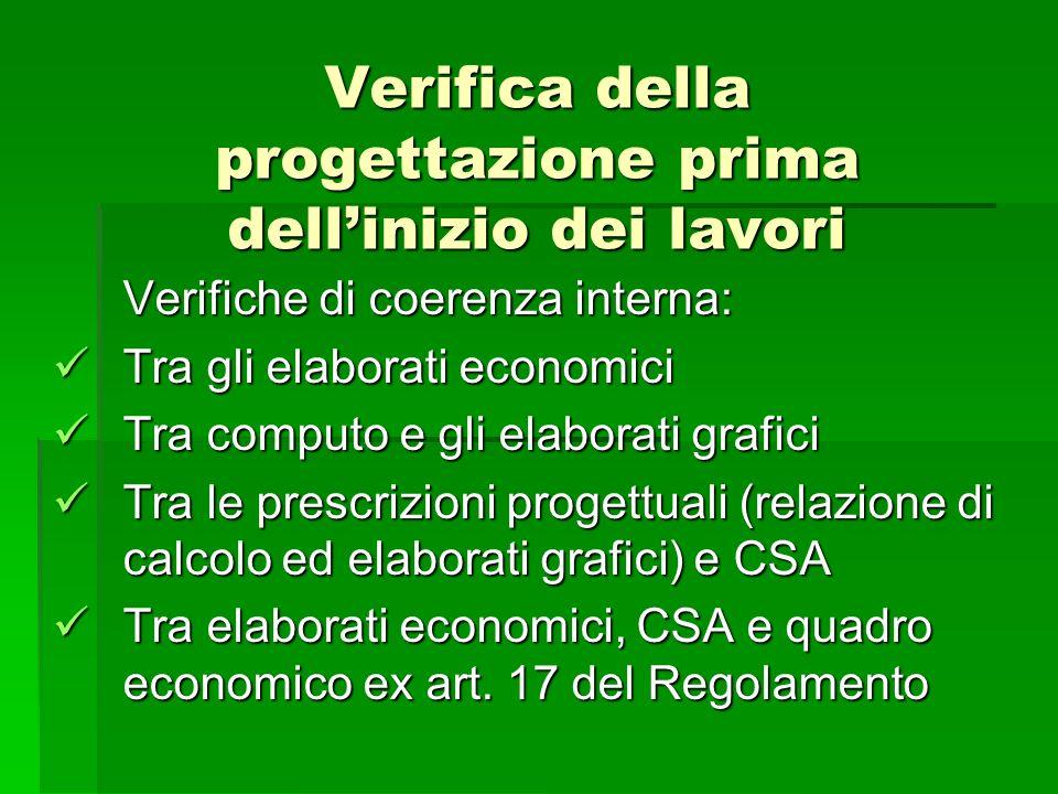 Verifica della progettazione prima dellinizio dei lavori Verifiche di coerenza interna: Tra gli elaborati economici Tra gli elaborati economici Tra co